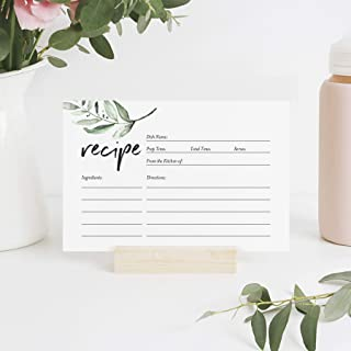 Bliss Collections Rustic Recipe Cards, Double Sided — Greenery Design for Bridal Shower, Wedding Shower, Housewarming Gift! Pack of 50 4x6 Cards