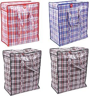 Sacs de Rangement en Plastique à Carreaux, 4Pcs Checkered Stockage Blanchisserie Sacs, Sacs à Carreaux en Plastique géants...