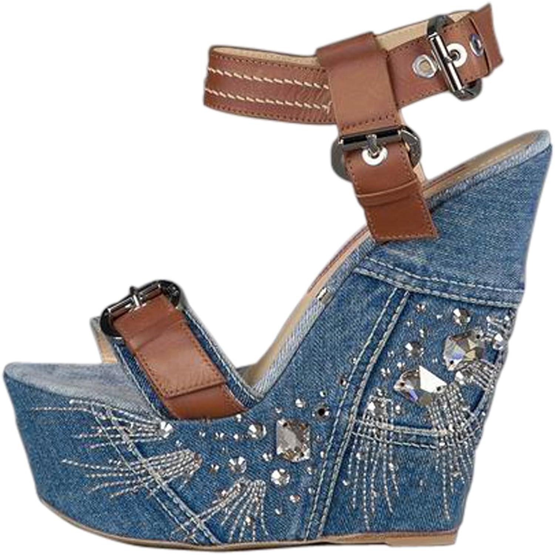 UMEXI Women Open Toe Pearl Padded Platform Demin Wedges High Heel Sandals