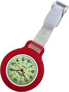 Glow Dial Nurse Watch - Clip-on Silicone (Infection Control) - Red