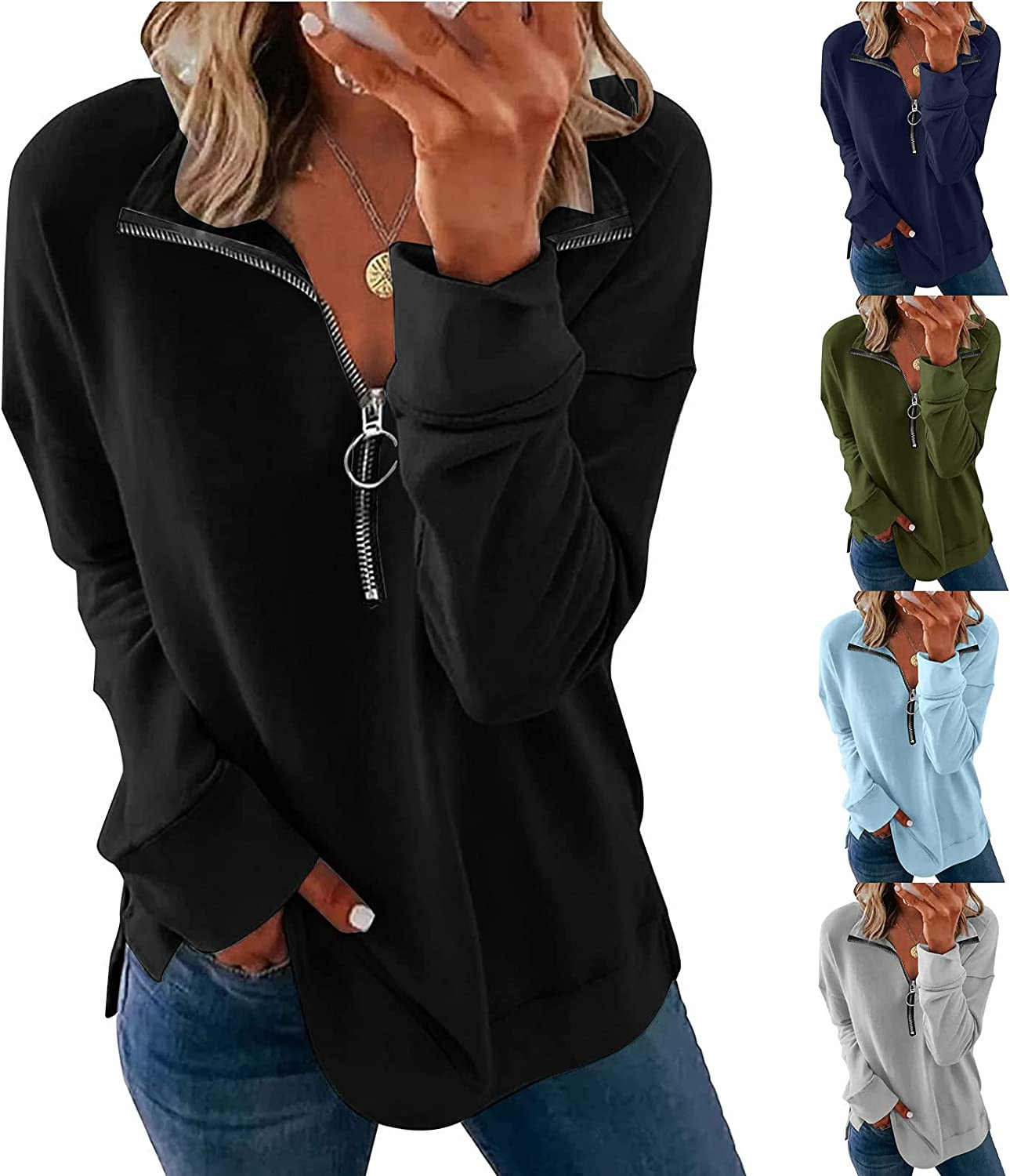 Oversized Womens Half Zip up Tops: Long Sleeve Solid Loose Fit Blouses Flowy Hem Shirts Pullover Tshirts Sweatshirt