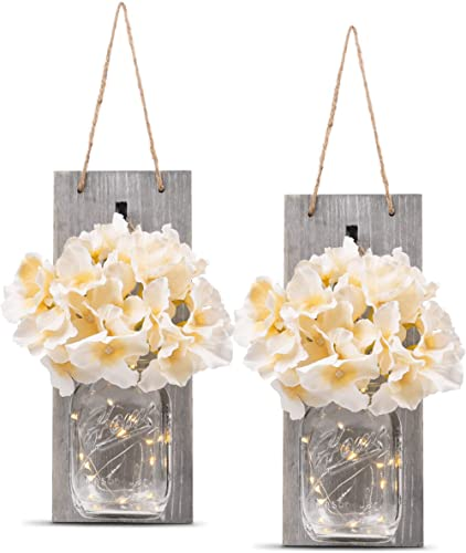 HOMKO Decorative Mason Jar Wall Decor - Rustic Wall Sconces with 6-Hour Timer LED Fairy Lights and Flowers - Farmhous...