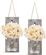 HOMKO Decorative Mason Jar Wall Decor – Rustic Wall Sconces with 6-Hour Timer LED..