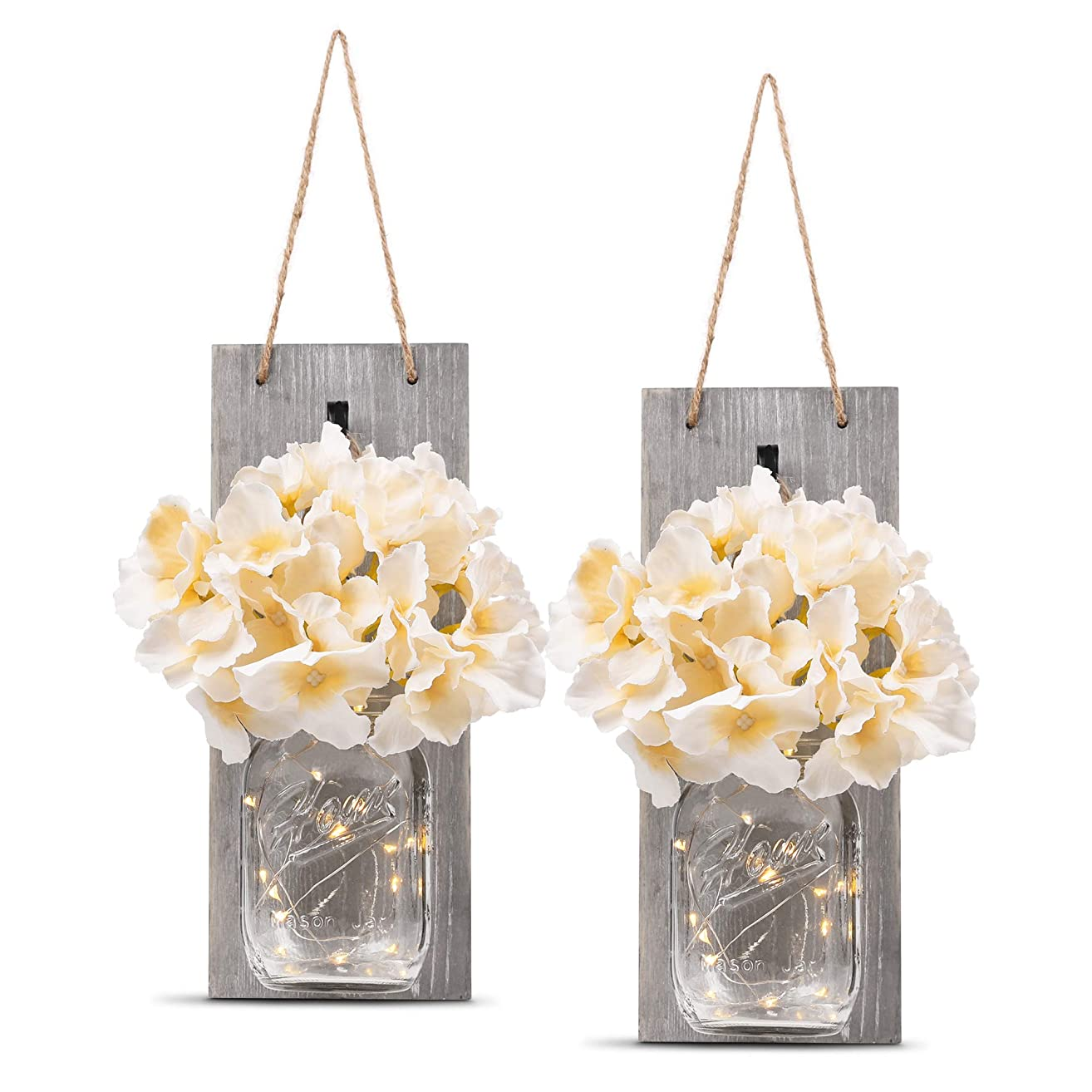 HOMKO Decorative Mason Jar Wall Decor - Rustic Wall Sconces with 6-Hour Timer LED Fairy Lights and Flowers - Farmhouse Home Decor (Set of 2)