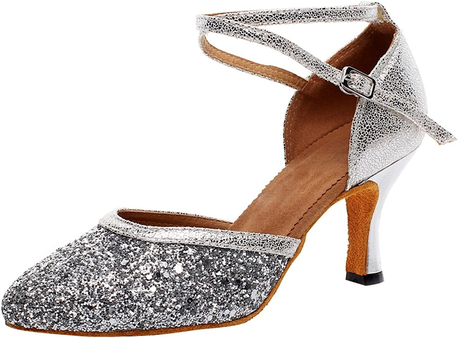 ABBY Products Womens Practice Latin Tango Chacha Professional Dance shoes 2 in Closed Toe7122 Silver(3.5IN) US Size3