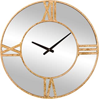 Patton Wall Decor 24 Inch Minimalist Gold Mirrored Roman Numeral Wall Clock