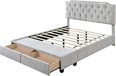 DG Casa Lawson Tufted Upholstered Platform Bed Frame with Storage Drawers Nailhead Trim Headboard and Full Wooden Slats, Queen Size in Gray Polyester Blend Fabric