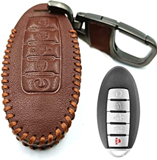 FENGRUISI Genuine Leather Smart Key Fob Case Cover for Nissan