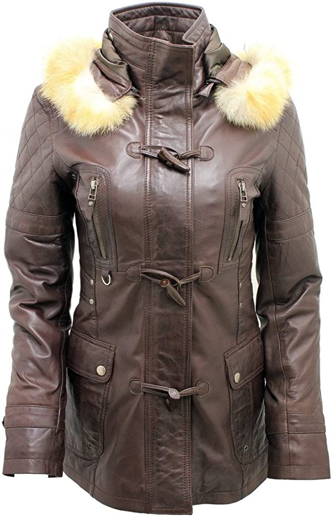 Women's Detachable Hood Quilted Brown Leather Parka Jacket