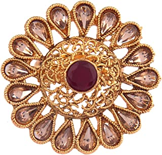 Efulgenz الهندي بوليوود التقليدية العتيقة جولة بيرل كريستال كوندان قابل للتعديل مجوهرات الإصبع خاتم كبير