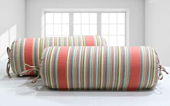 AURAVE Multicolor Stripes Woven Cotton 2 Pcs Bolster Covers, Peach