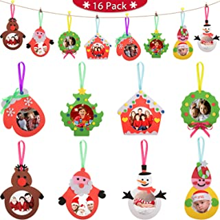 Blulu 16 Pieces Christmas Picture Ornaments Craft Picture Keepsake Photo Frame Ornament Kit for Family DIY Christmas Santa Tree Snowman Decoration