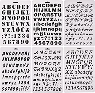 6 PCS Alphabet Letter Number Drawing Painting Stencils Scale Template for Scrapbooking, Card and Craft Projects