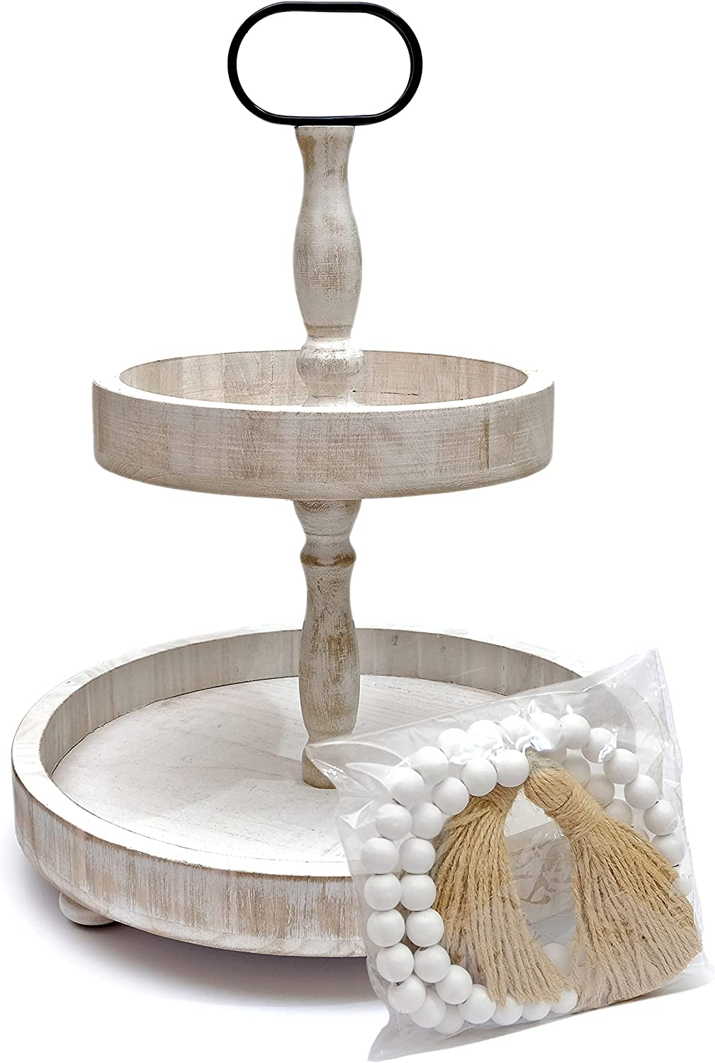 High order Farmhouse Tiered Tray with Ranking TOP7 Beads Home Decor Tier Round C 2