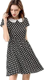 Allegra K Women's Peter Pan Collar Above Knee Contrast Polka Dot Dress