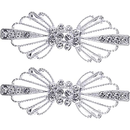 Crystal Rhinestone Hook and Eye Cloak Clasp Sew On Fasteners Pack of 2 Pairs 66mm x 25mm Fastened. Antique Silver