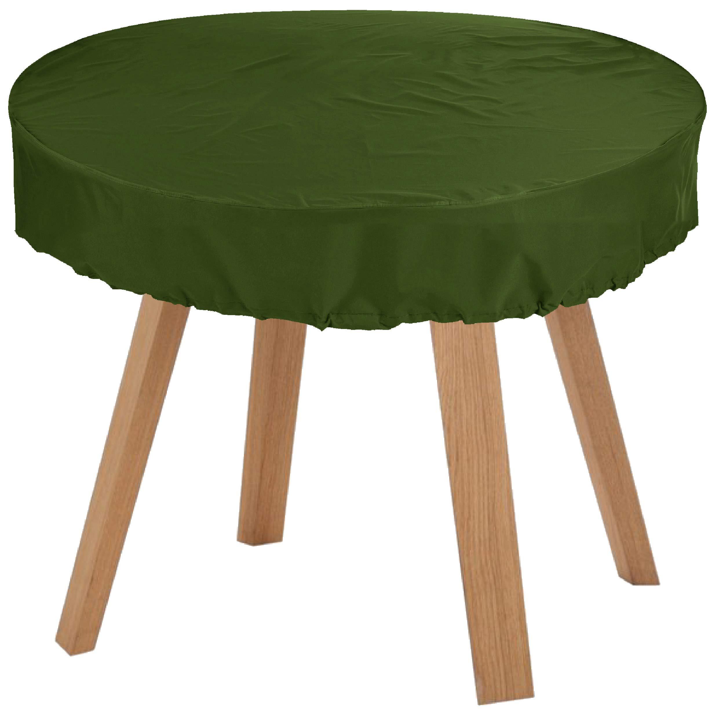 KaufPirat Premium Fundas para Mesa Redonda Ø 115x15 cm Cubierta Impermeable Funda para Mesa para Mobiliario de Exterior, Oxford Fundas para Proteger Muebles de Jardín Verde Oliva: Amazon.es: Jardín