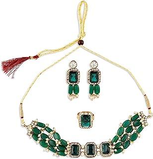 Zaveri Pearls Green Beads Ethnic Choker Necklace Earring & Ring Set For Women-ZPFK10767