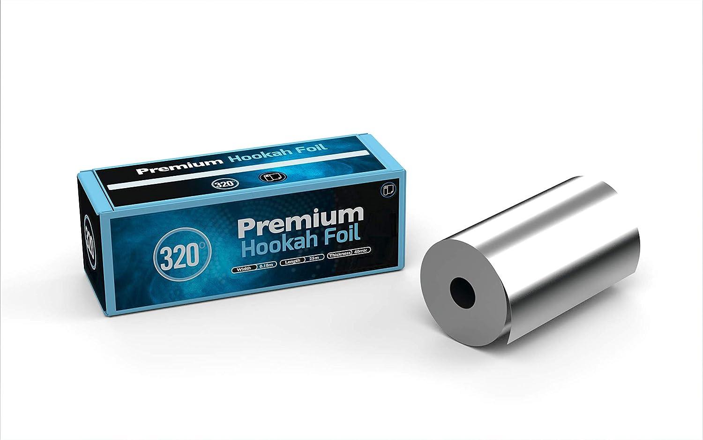 Rollo de aluminio para shisha de carbón de 320°, extra grueso, 180 mm de ancho, 25 m de largo, 40 micras de grosor.