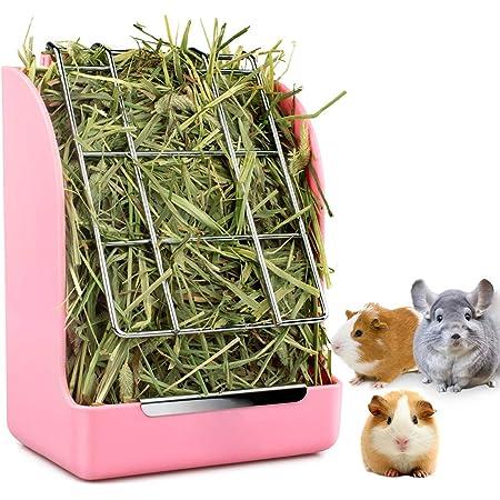 Rabbit Feeder Bunny Guinea Pig Hay Feeder, Hay Guinea Pig Hay Feeder, Chinchilla Plastic Food Bowl (Pink)