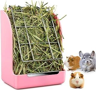STKYGOOD Rabbit Feeder Bunny Guinea Pig Hay Feeder,Hay Guinea Pig Hay Feeder,Chinchilla Plastic Food Bowl (Pink-A)