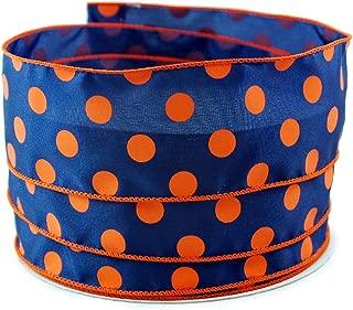 Polka Dot Navy and Orange Satin Wired Ribbon #40-2.5in x 10 Yards