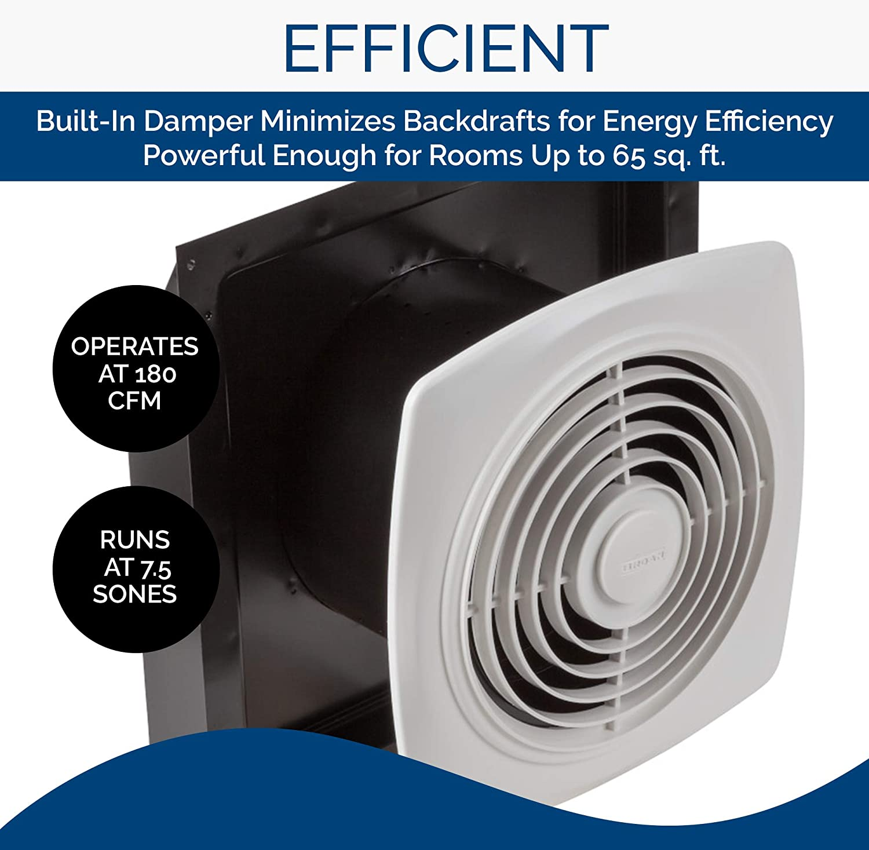 Broan NuTone 20 Through the Wall Ventilation Fan, White Square Exhaust  Fan, 20.20 Sones, 20 CFM, 20