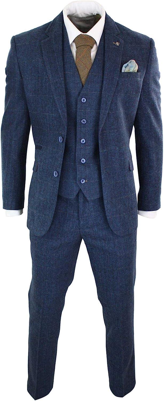 Men's Vintage Clothing | Retro Clothing for Men Mens 3 Piece Navy Blue Suit Tweed Check 1920s Tailored Fit Vintage  AT vintagedancer.com