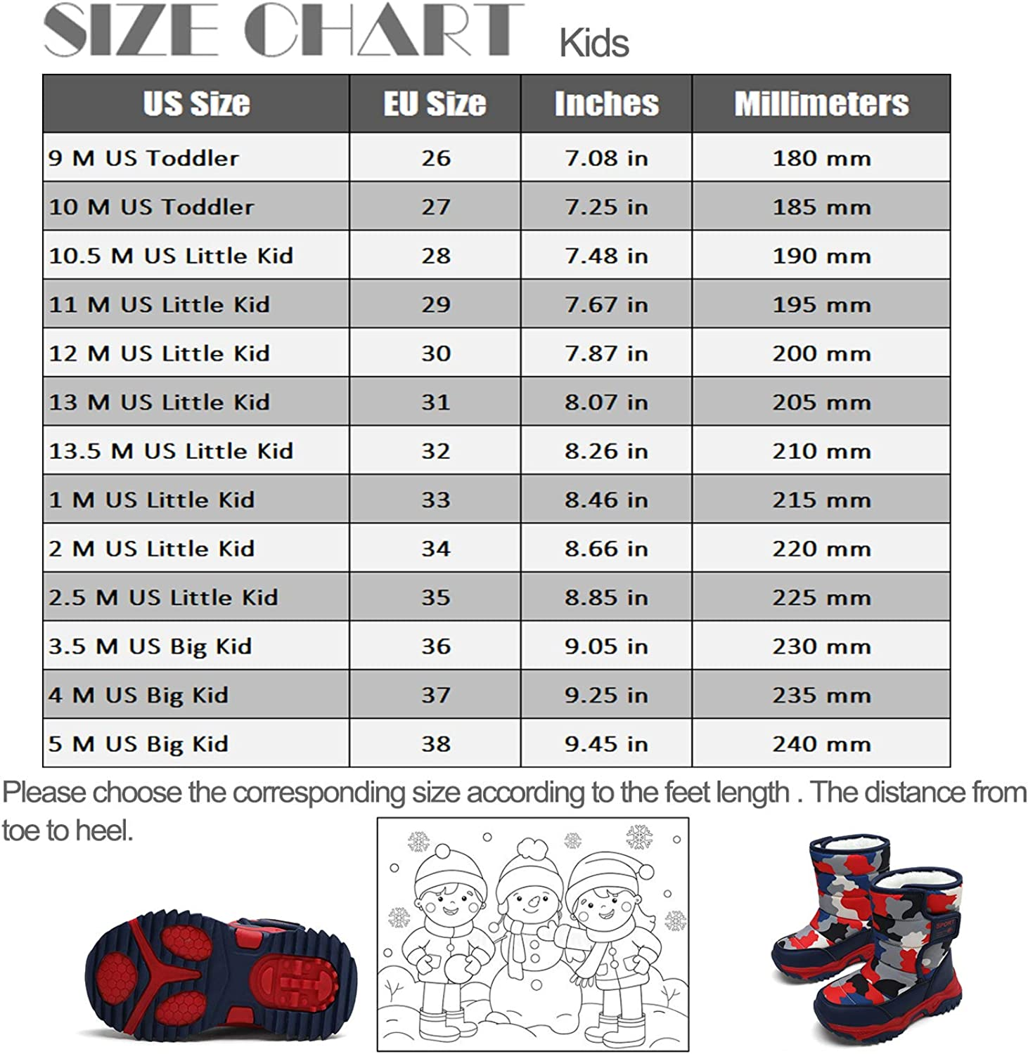 Kids Boys Girls Snow Boots Winter Fully Fur Lined Warm Shoes Outdoor Slip Resistant Walking Boots