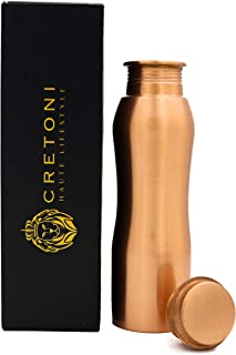 CRETONI Copperlin Pure Copper Water Bottle : Curved Seemless Leak Proof Design : Perfect Ayurvedic Copper Vessel for Sports, Fitness, Yoga, Natural Health Benefits (850 Milliliter/28 Ounce)