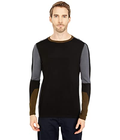 Smartwool Intraknit Merino 250 Thermal Color-Block Crew (Black) Men