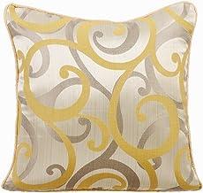 Decorative Mustard Yellow Throw Pillow Cushion Covers 40x40 cm, Jacquard Designer Pillowcases, Abstract, Scrolls, Pattern,...