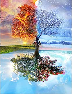 DIY 5D Diamond Painting Full Drill, Paint by Number Kits On Canvas for Beginners Adults Kids, Round Drills Rhinestone Painting Embroidery Cross Stitch Kit Home Wall Decor, Four Seasons Tree