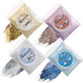PARAMISS 4 Colors Lip Gloss Glitter Holographic Extra Fine Cosmetic Metallic Shimmer Diamond Glitter Powder for Lip Gloss Body Nail Glitter Making, 10g Each Glitter Pack Non Toxic