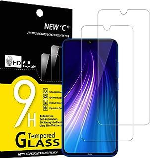 NEW'C 2-pack skärmskydd med Xiaomi Redmi Note 8, Xiaomi Mi 9 Lite – Härdat glas HD klar 9H hårdhet bubbelfritt