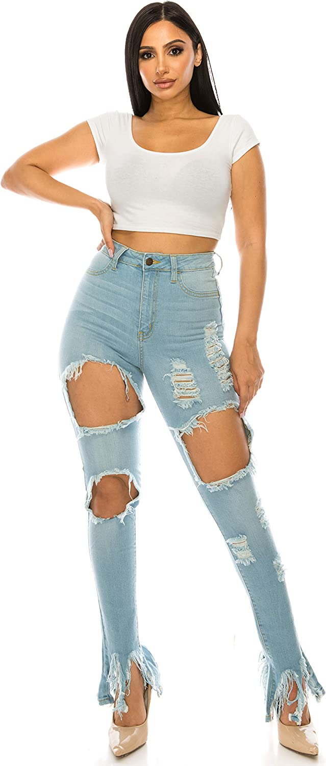 Aphrodite Plus Size Jeans for Women - High Waisted Skinny Womens Distressed Ripped Frayed Jeans 4380 Light Blue 1XL