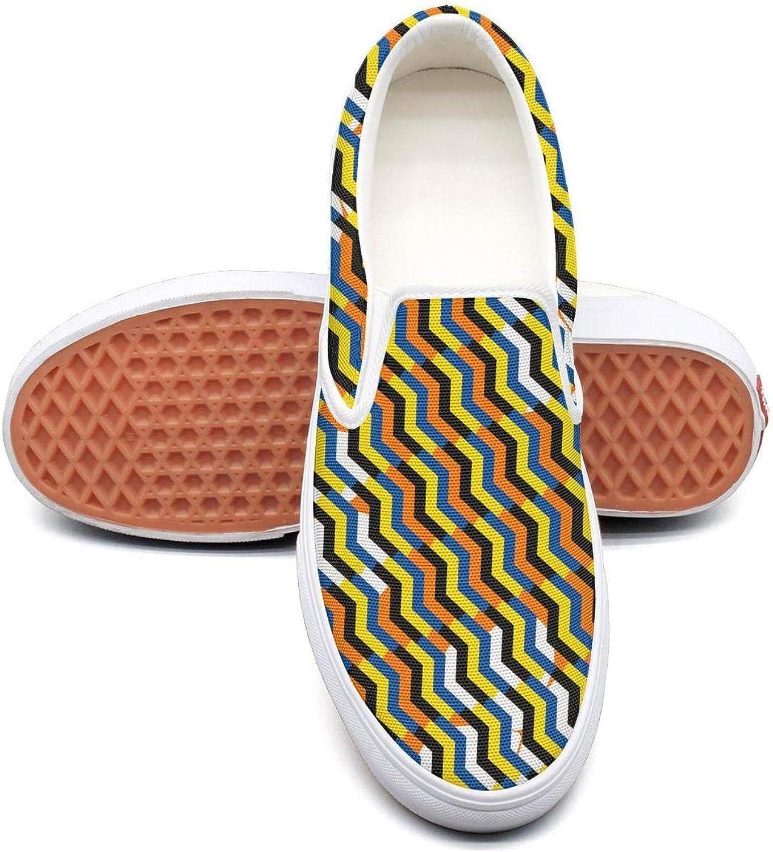 Lightweight Stripe Womens Slip On Sneakers shoes Canvas Upper