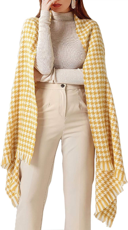 Women Fall Winter Blanket Scarf, Soft Warm Classic Tassel Plaid Wrap Shawl Thick Chunky Cape for Lady Girl