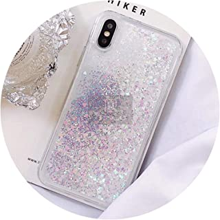 Love Heart Glitter Phone Case for iPhone X XR XS MAX Liquid Quicksand Cover for iPhone 5 5S SE 6S 6 7 8 Plus Bling Sequins,White,for iPhone 5 5S