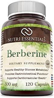 Nutri Essentials Berberine 500 Mg 120 Capsules- Supports Immune Function, Glucose Metabolism and Cardiovascular & Gastroin...