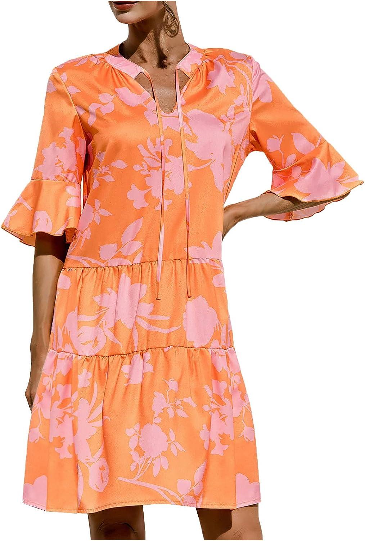 ESULOMP Womens Summer Short Dresses Casual V-Neck Short Sleeve Tie-dye Printing Ruffle Dress Flowy Swing Shift Dresses