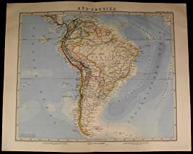 South America Brazil Argentina Chile Patagonia Peru 1885 fine old detailed map