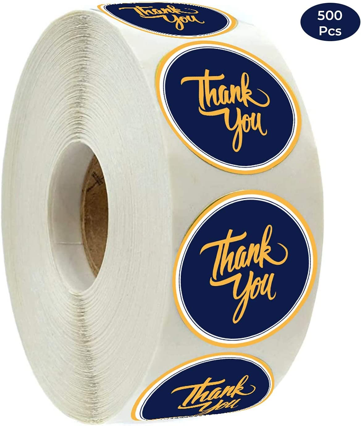 Thank You Stickers Roll | 500 Count | 1.5 Inch | Adhesive Stickers | Shipping Bags, Packaging, Labels, Round, Envelopes, Boutique, Mail, Stamp | Small Business Supplies | Blue-Gold