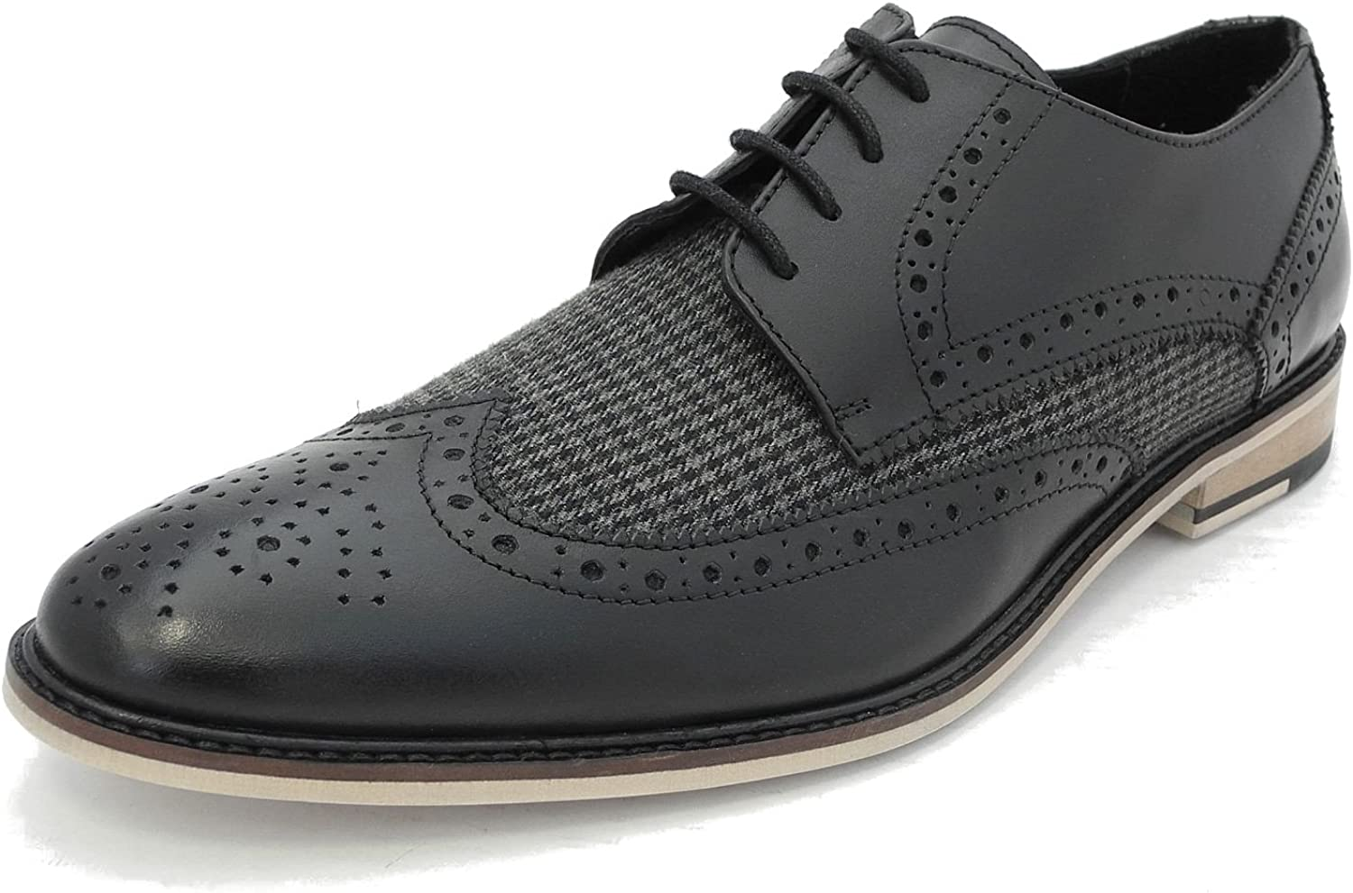 Mens Black Grey Check Real Leather Lace Up Smart Brogues Gatsby Spats shoes Size 6 7 8 9 10 11 12