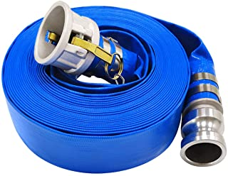 """2"""" x 50' Blue PVC Lay-Flat Discharge Hose with Aluminum Camlock C and E Fittings"""