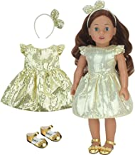 Sophia's Gold Sequin Dress, Headband and Shoes for 18 Inch Dolls, Fits American Dolls & More