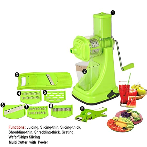 Floraware Plastic Fruit and Vegetable Juicer Combo Set, 9-Pieces, Green