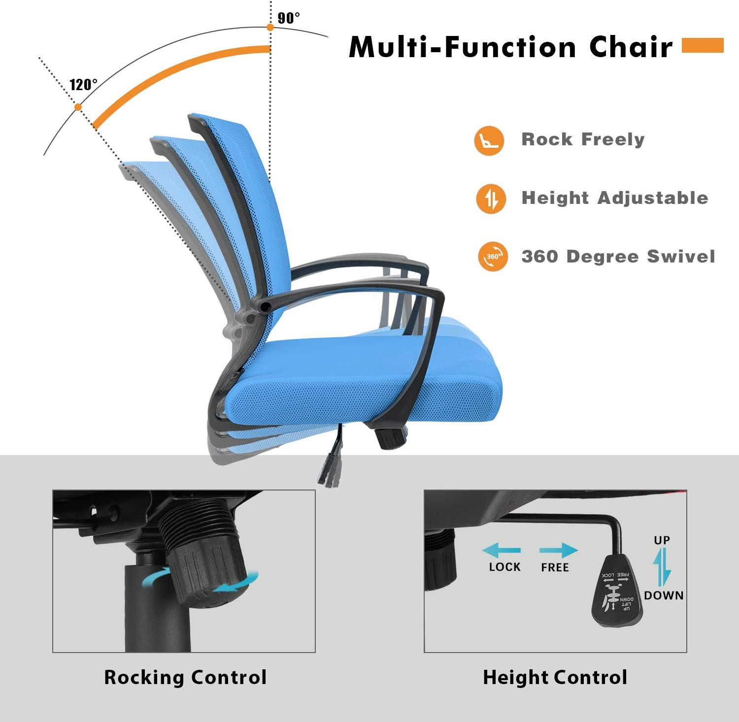 Homall Office Chair Desk Chair Fabric Mesh Chair Mid Back Swivel Computer Chair Lumbar Support Executive Chair Adjustable Height Blue