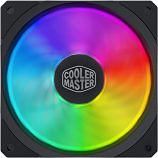 Cooler Master MasterFan SF120R ARGB 120mm Square Frame Fan w/ 8 Independently-Controlled Addressable RGB LEDS, Hybrid Blade Design, Cable Management and PWM Control Fan