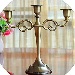 Silver/Gold/Black/Bronze Metal Candle Holder 5 arms/3 arms Candle Stand Wedding Candlestick Candelabra,3 Arms Bronze